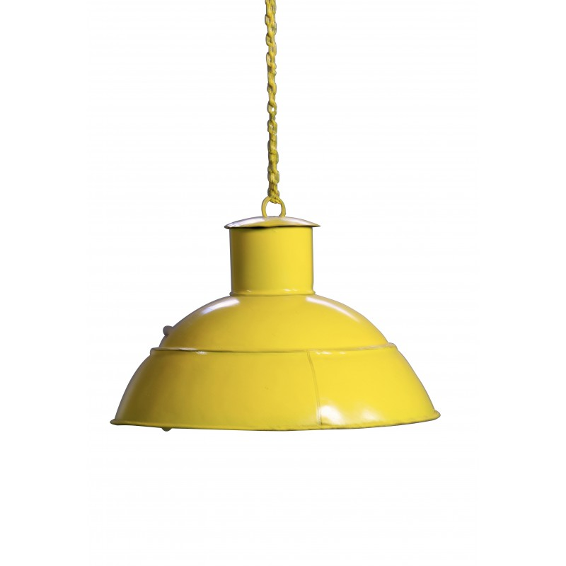 lampe suspension design industriel en m tal antique couleur jaune. Black Bedroom Furniture Sets. Home Design Ideas