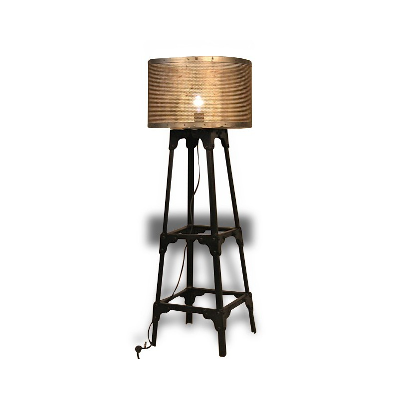 lampe sur pied m tal antique style industriel avec syst me. Black Bedroom Furniture Sets. Home Design Ideas