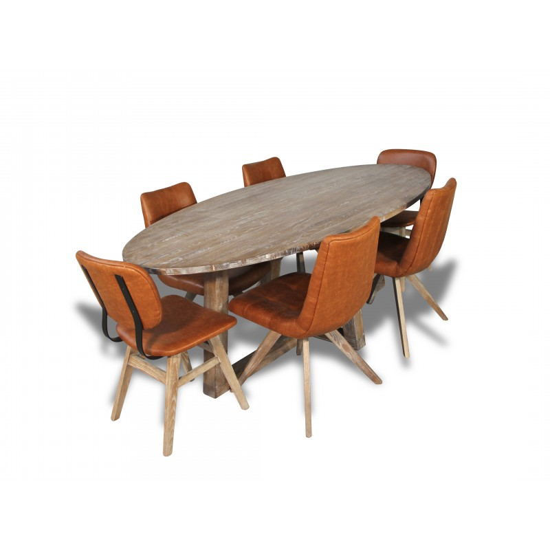 table de repas ovale 6 personnes bois massif de ch ne patin blanchi. Black Bedroom Furniture Sets. Home Design Ideas