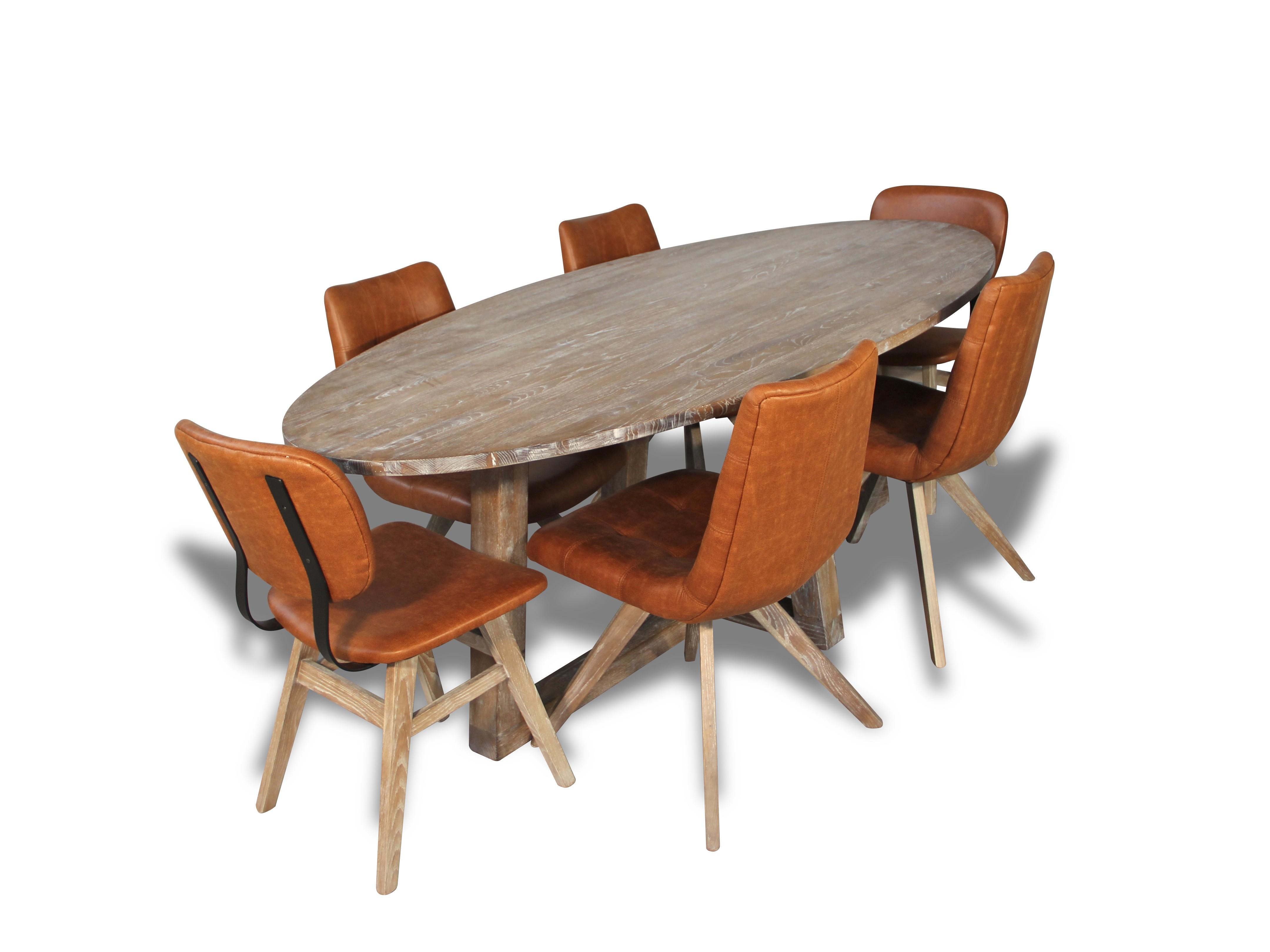 Ovale Esstisch 220 Cm In Patina Gebleicht Eichenholz, 6-8
