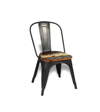 """2 x Chaises métal antique et bois recyclé coloré """"Factory"""", design industriel"""