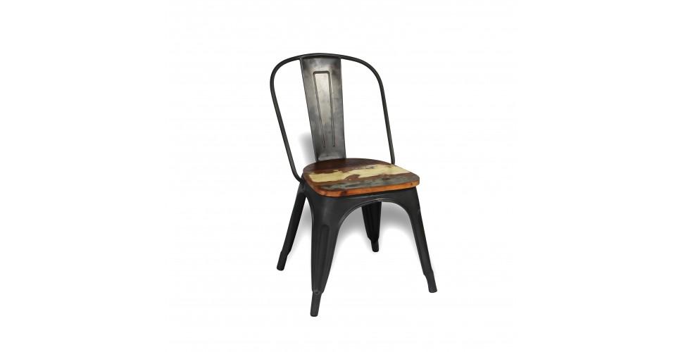 """2 x Antike Metall Stuhlen """"Factory"""" und Mango Holz, Industrie Design"""