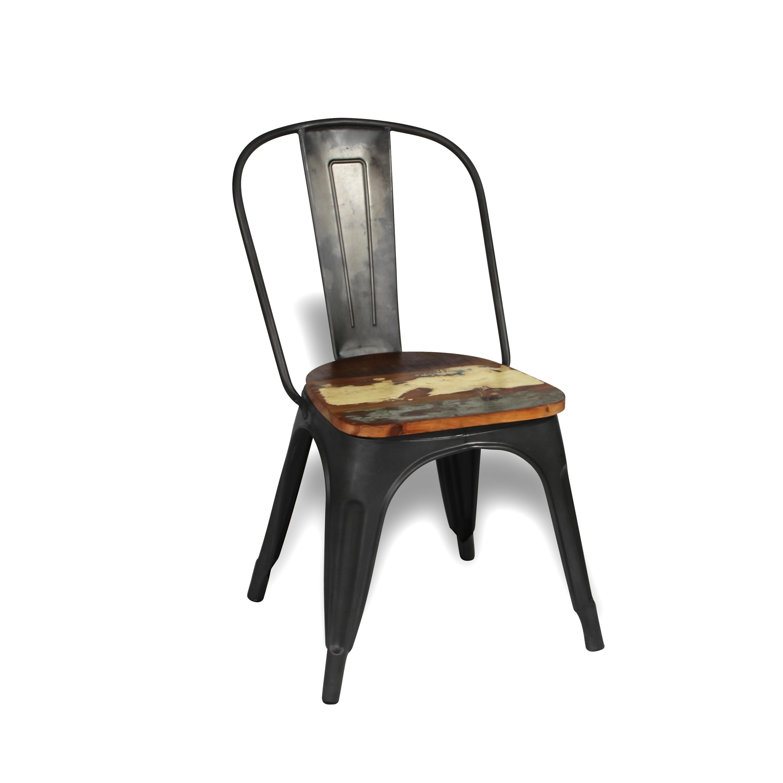 Chaise Bois Et Metal Industriel chaise en métal antique avec assise en bois de bateau