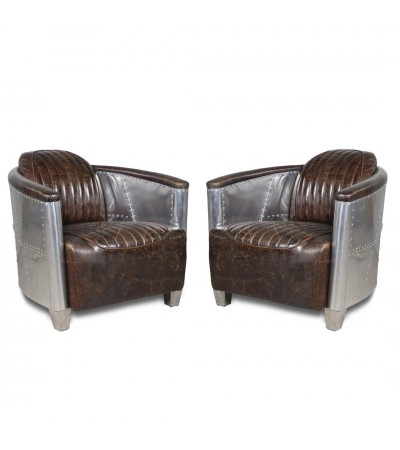 "Lot 2 Fauteuils Aviateur ""Mermoz"" Cuir Marron Vintage"