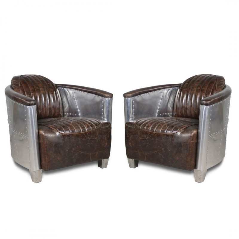 fauteuils aviateur cuir patin marron vintage et aluminium rivet. Black Bedroom Furniture Sets. Home Design Ideas