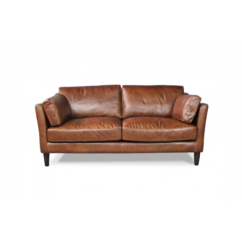 Canap club cuir marron clair avec 2 fauteuils club cuir for Canape avec fauteuil