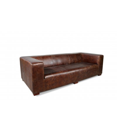 "Canapé Cuir Marron vintage 4 places ""Lawrence"""
