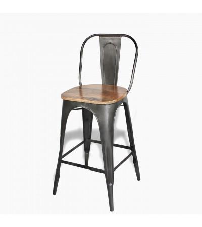 "Antike Metall Barstuhl ""Factory"" Mangoholz Sitze, Industrieller Stil"