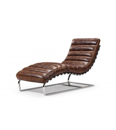 "Chaise longue ""Scarlett"" Cuir Marron Vintage"