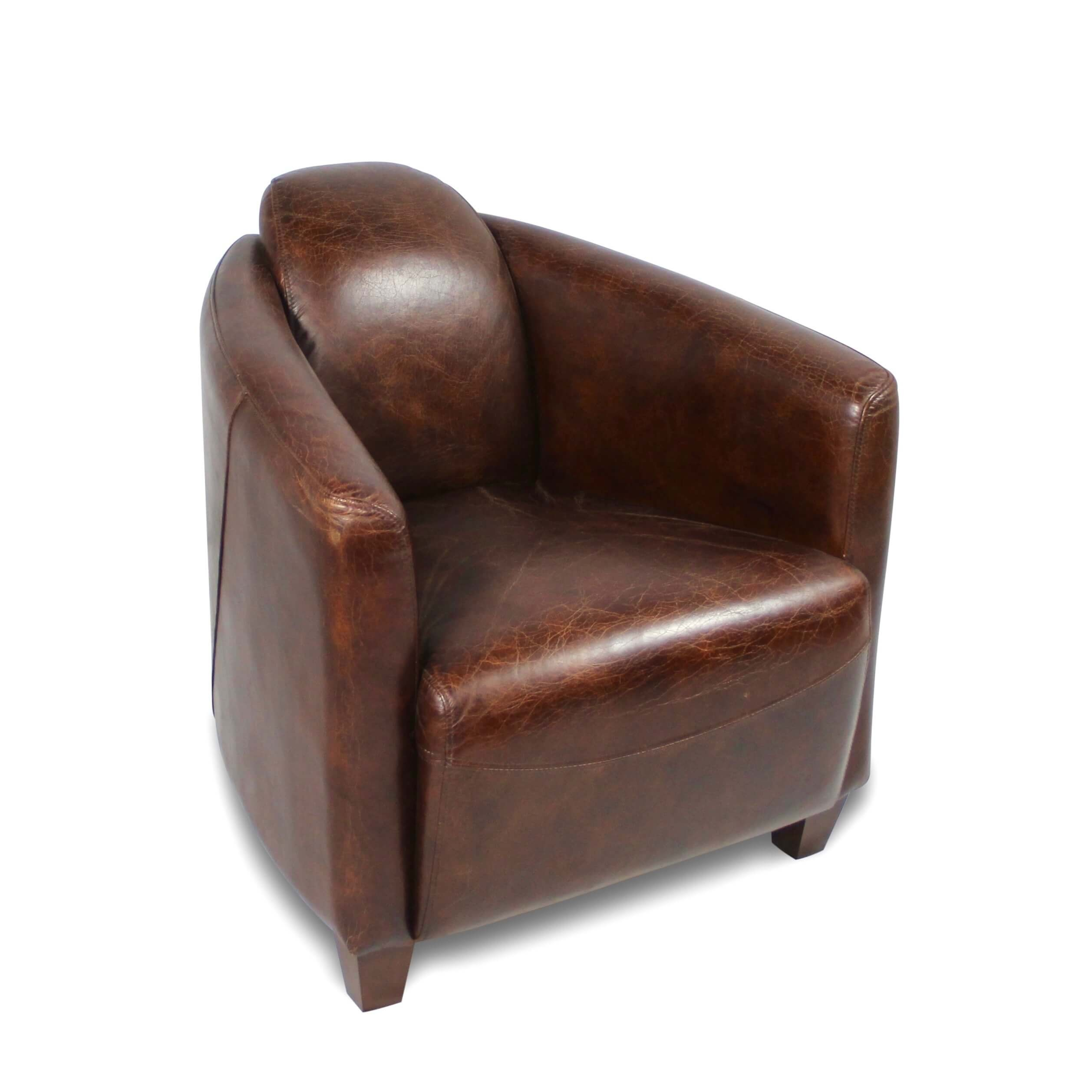 Fauteuil Club En Cuir Marron Vintage Collection Club Cuir Cazadeco