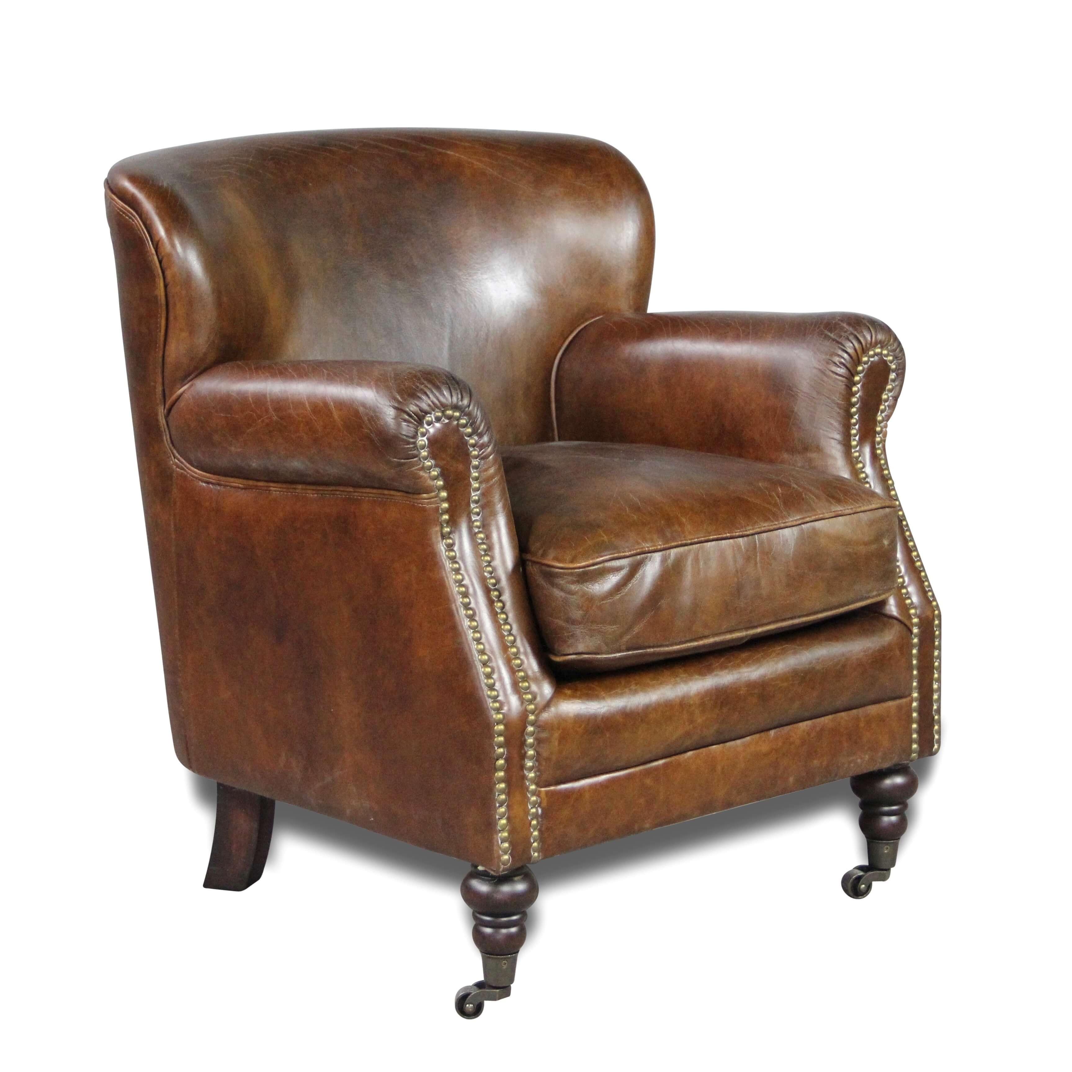 clubsessel braun patina leder english stil mit nagel. Black Bedroom Furniture Sets. Home Design Ideas