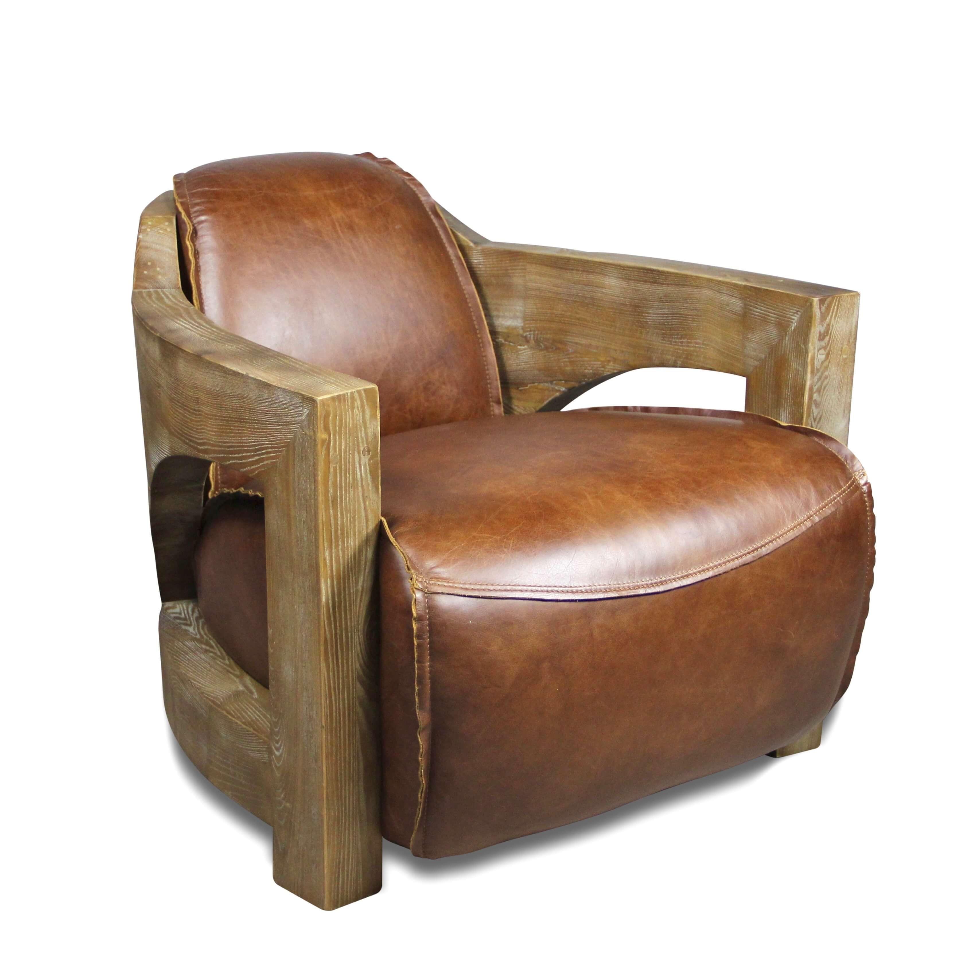 fauteuil cuir marron patin vintage et bois style chalet. Black Bedroom Furniture Sets. Home Design Ideas