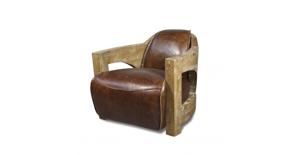 "Braun Vintage Leder Clubsessel ""Malcolm"" Holz Armlehnen"