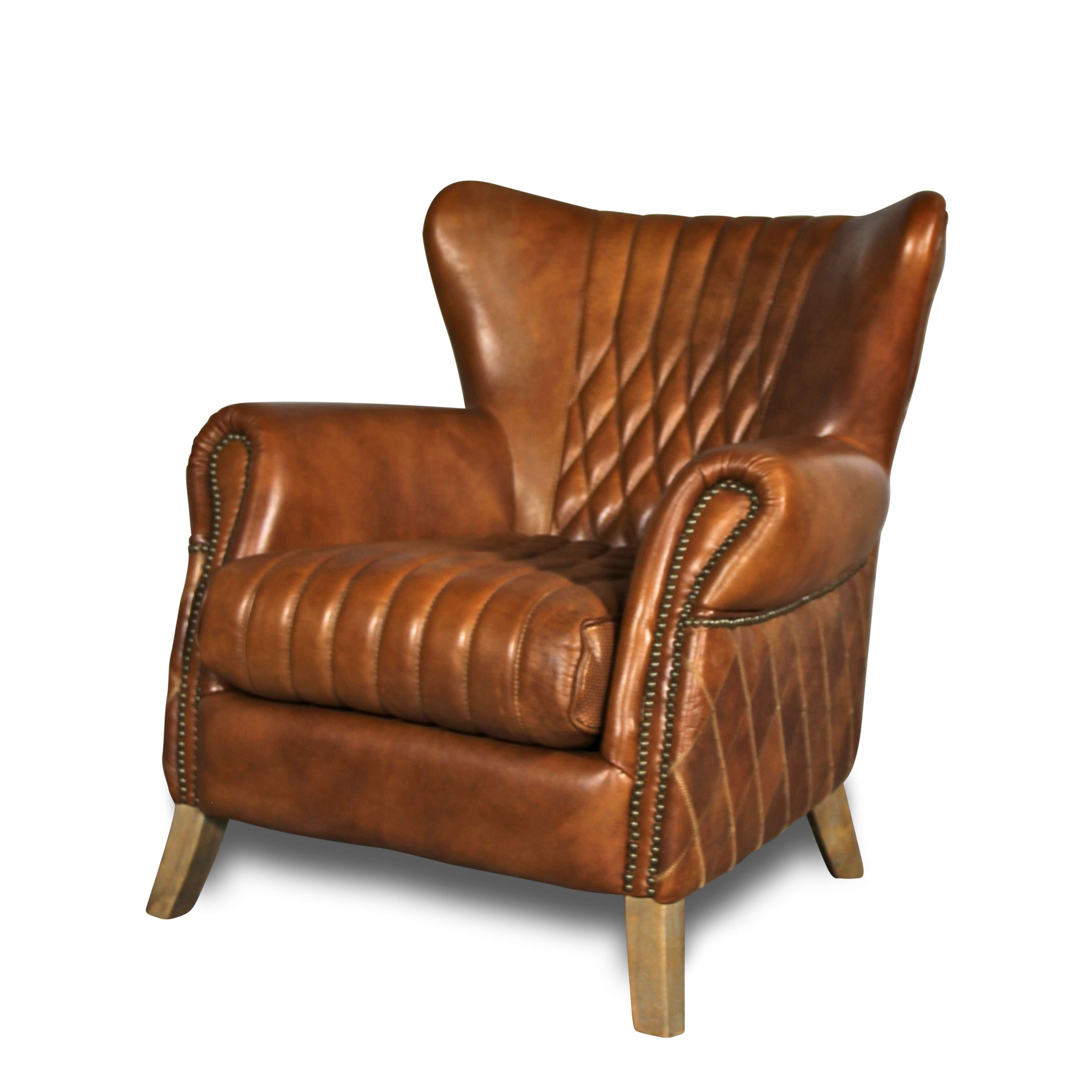 Fauteuil en cuir marron clair vintage avec clous et surpiqures d2a7cb132bb9