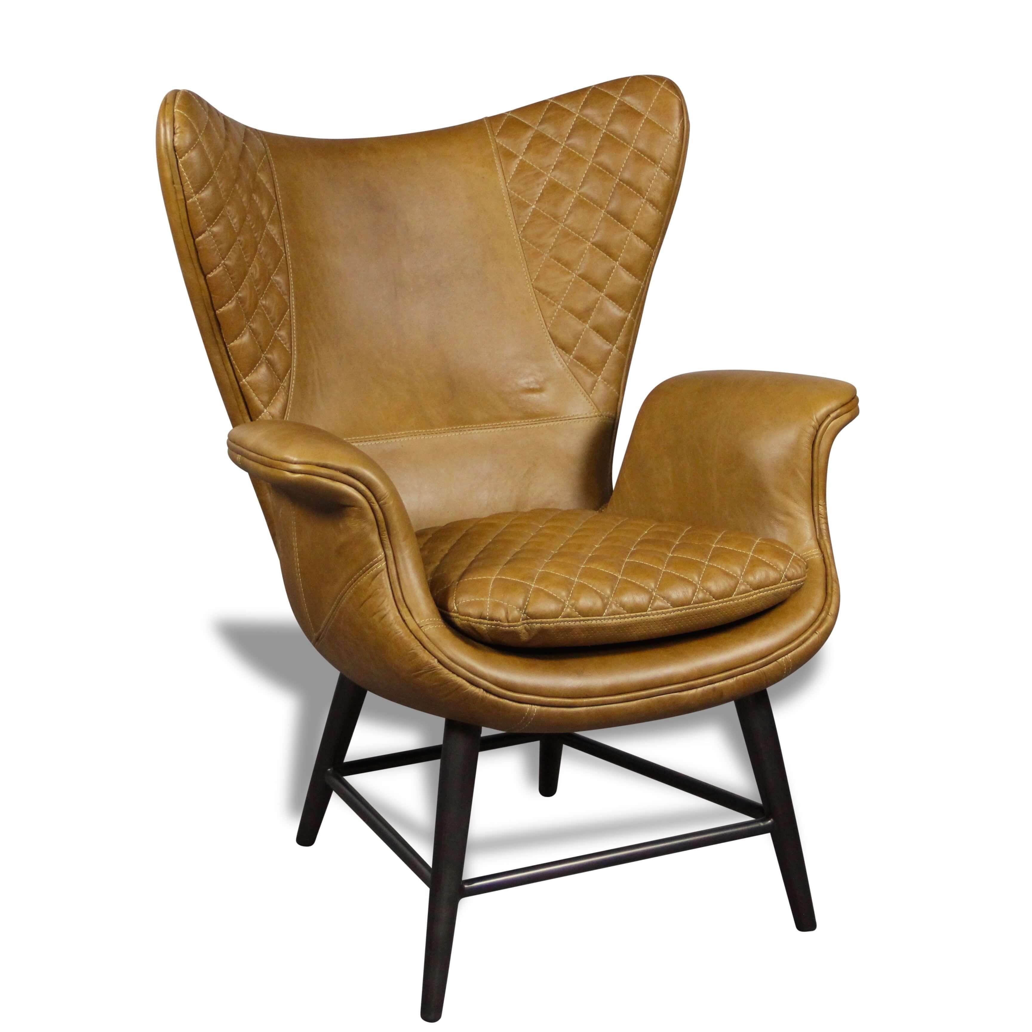 fauteuil design en cuir marron clair vintage oreilles et. Black Bedroom Furniture Sets. Home Design Ideas