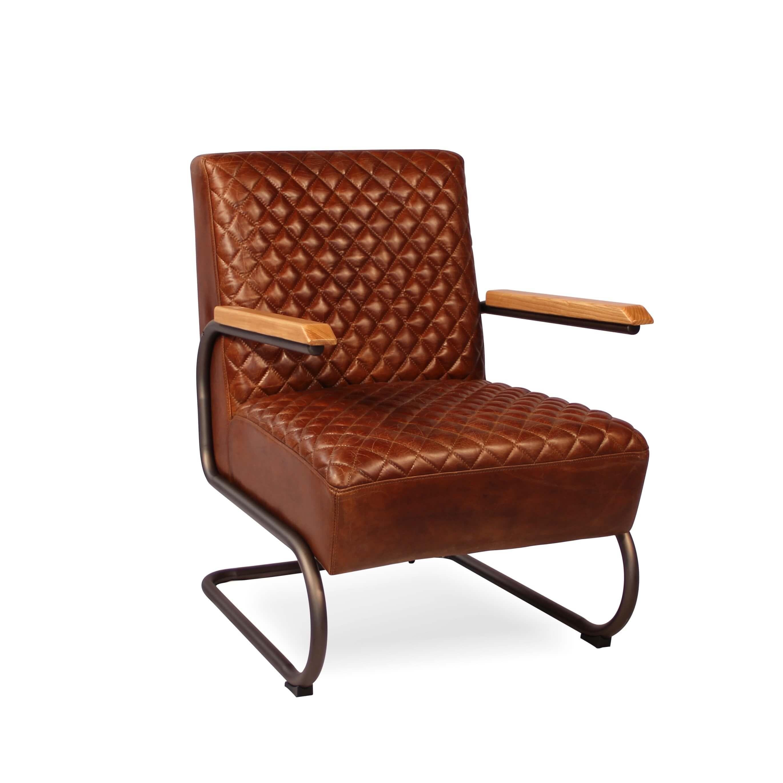 fauteuil club vintage cuir marron patin m tal et bois. Black Bedroom Furniture Sets. Home Design Ideas