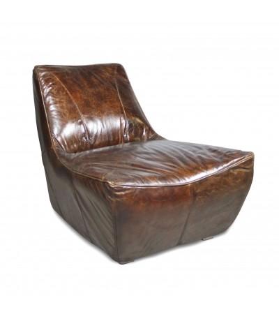 "Braun Vintage Leder Sessel ""Jim"" Seventies Stil"