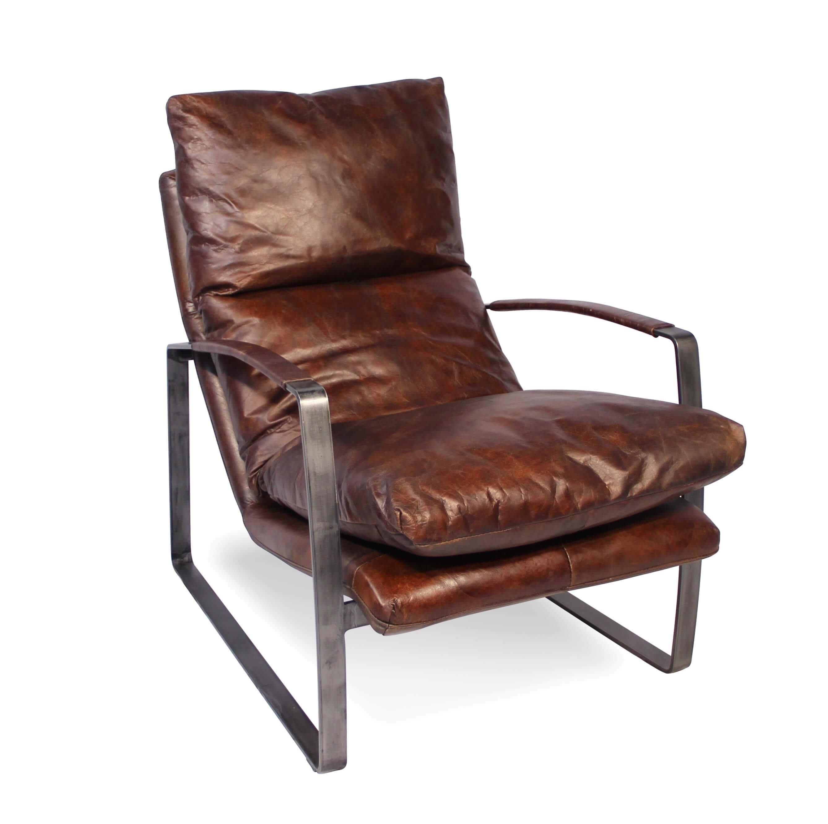 Sessel In Patina vintage Braun Leder und Metall sechziger