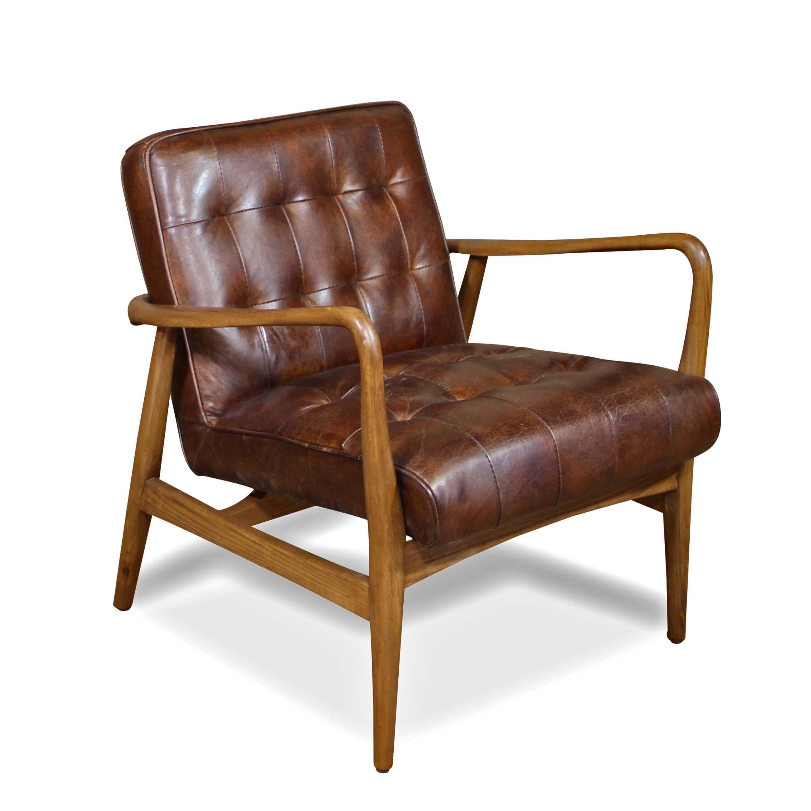 fauteuil club en cuir marron vintage avec accoudoirs en. Black Bedroom Furniture Sets. Home Design Ideas