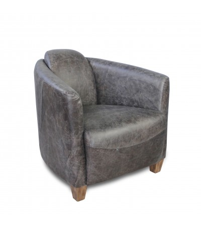 "Fauteuil Club Cuir Vintage gris ""Andrew"""