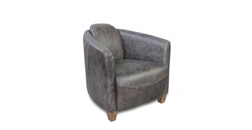 Fauteuil Club Cuir Vintage gris