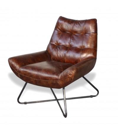 "Braun Vintage Leder Sessel ""Elvis"" seventies Stil"