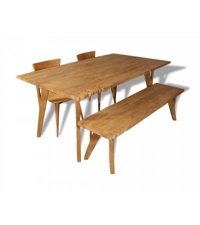 """Table de Repas """"Flores"""" bois de Teck avec arabesques, 180 cm"""