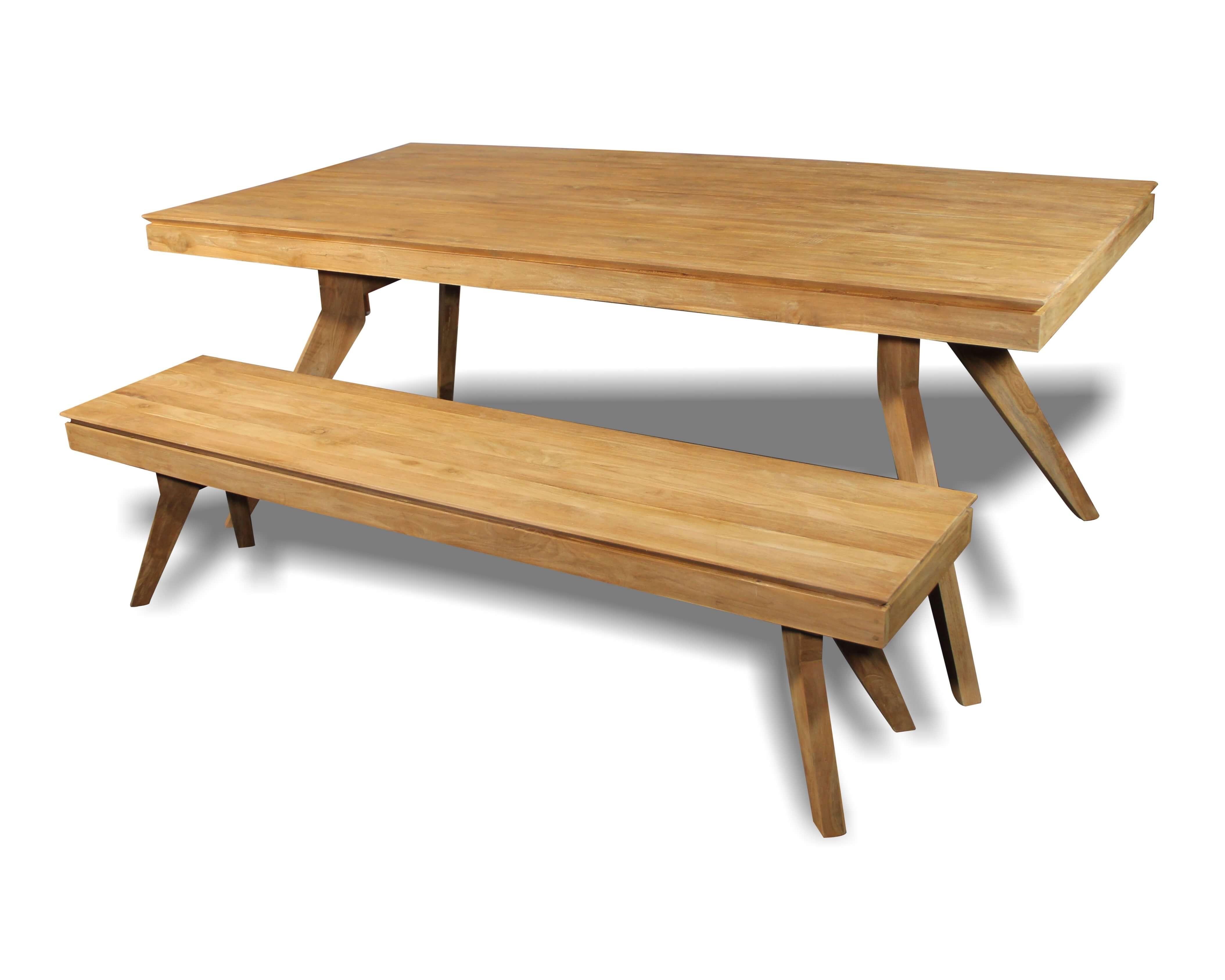 à manger recyclé de patiné en teck et massif bois Table verni l1KJFTc