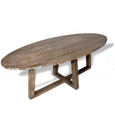 "Table de Repas ovale bois massif ""Blythe"", 220 cm"