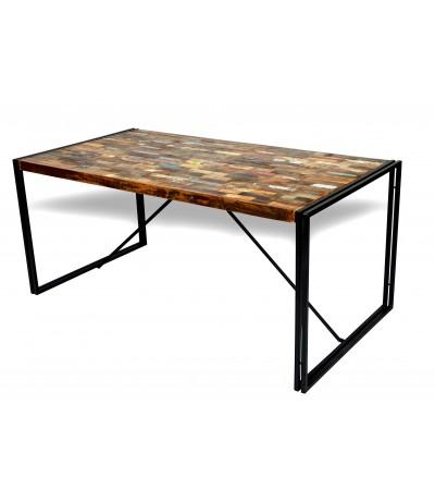 """Table de Repas style industriel """"Arizona"""", plateau briquettes colorées, 170 cm"""