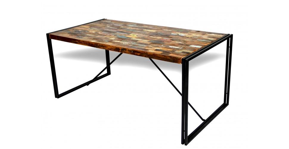"""Industriel Stil Esstisch """"Arizona"""", Gefärbt Recycelt Briketts Holz, 170 cm"""