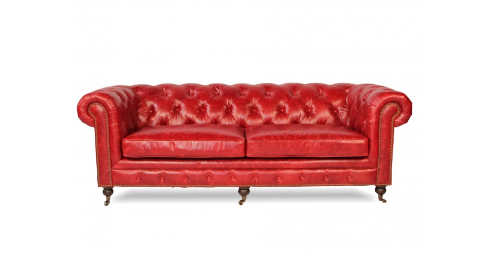"""Chesterfield Rote Vintage Ledersofa """"The First"""""""