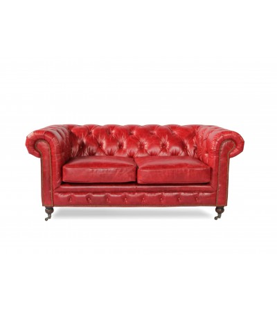"Canapé Chesterfield Cuir vintage rouge ""Windsor"" 2 places"