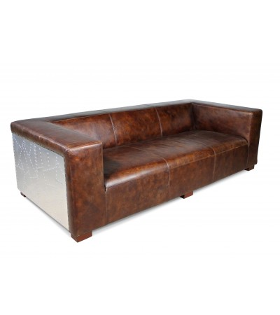 vintage braun aviator ledersofa alte patina drei sitzer. Black Bedroom Furniture Sets. Home Design Ideas