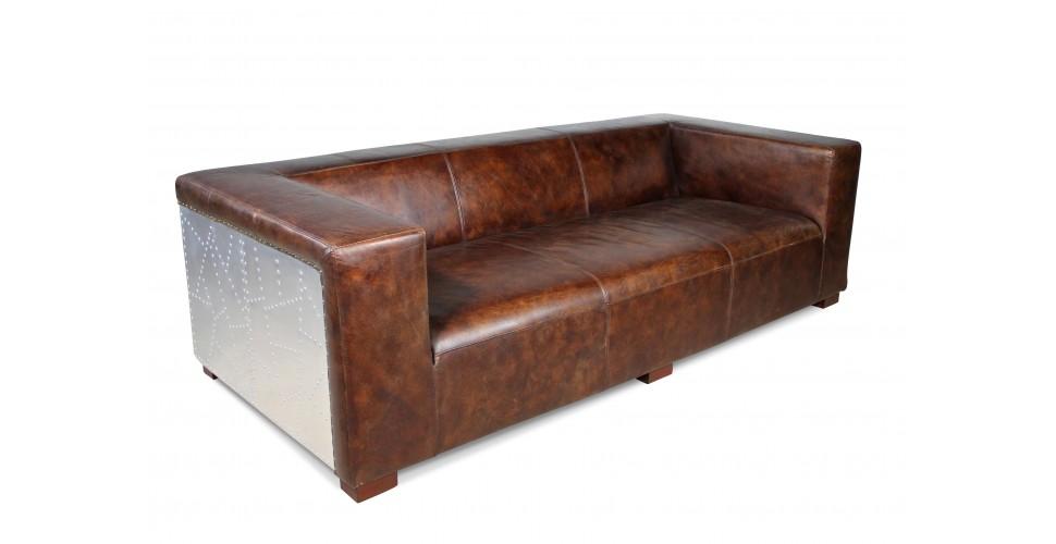"Sofa Pilot ""Lawrence"" Braun Vintage Leder 3 sitzer"