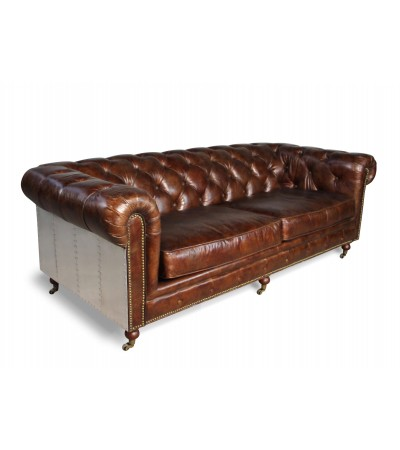 "Canapé Chesterfield Cuir vintage Marron ""The First"", Aviateur"
