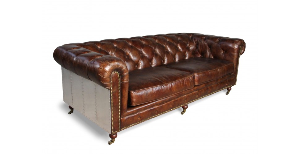 "Chesterfield Vintage braun Ledersofa ""The First"" Pilot"
