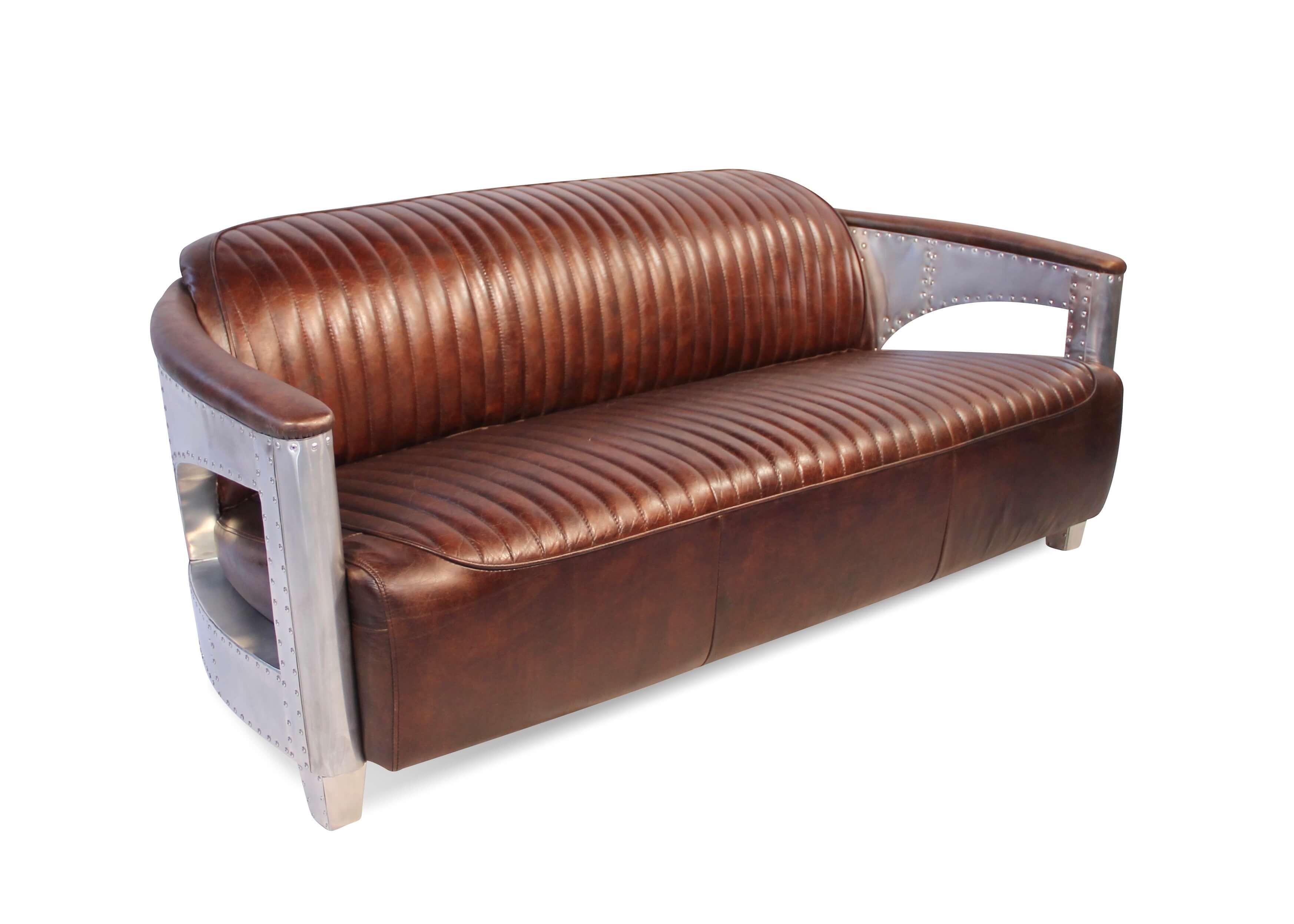 canap aviateur 3 places en cuir marron vintage avec. Black Bedroom Furniture Sets. Home Design Ideas