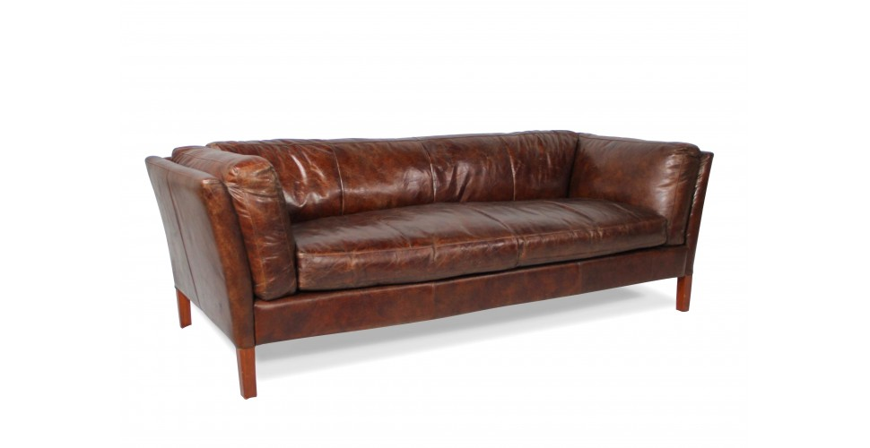 art deco weiches sofa aus braunem patina leder dreisitzer. Black Bedroom Furniture Sets. Home Design Ideas