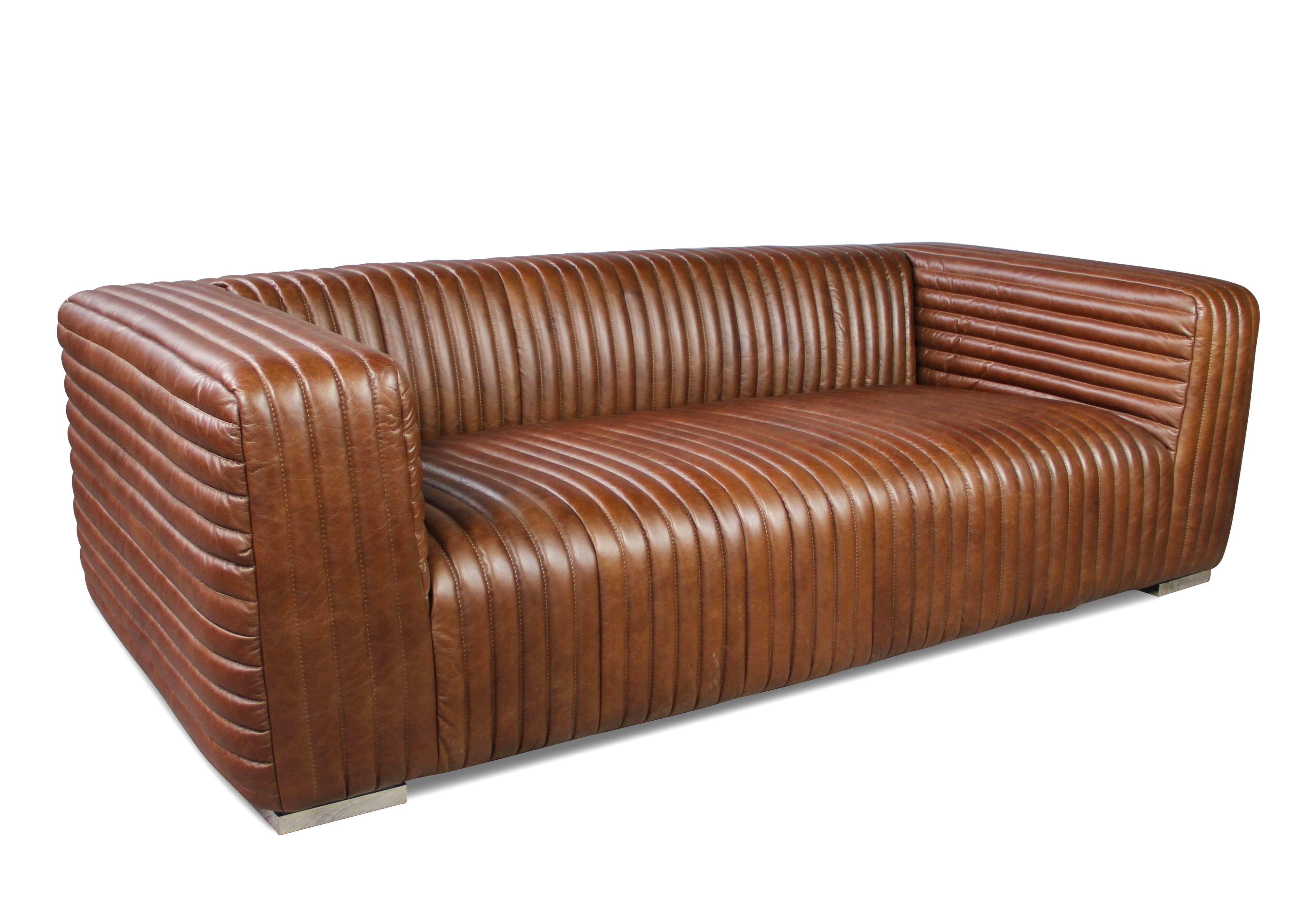 canap en cuir vintage patin et vieilli marron glac. Black Bedroom Furniture Sets. Home Design Ideas