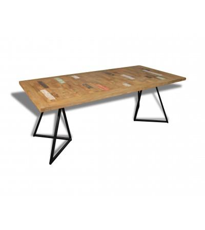 """Table à manger """"Java"""" en bois coloré de teck recyclé massif, 210 cm"""
