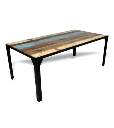 """Table de Repas recyclé """"Rivets"""" 200 cm"""
