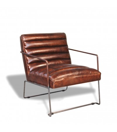 "Braun Vintage Leder und Metall Sessel ""Andy"""