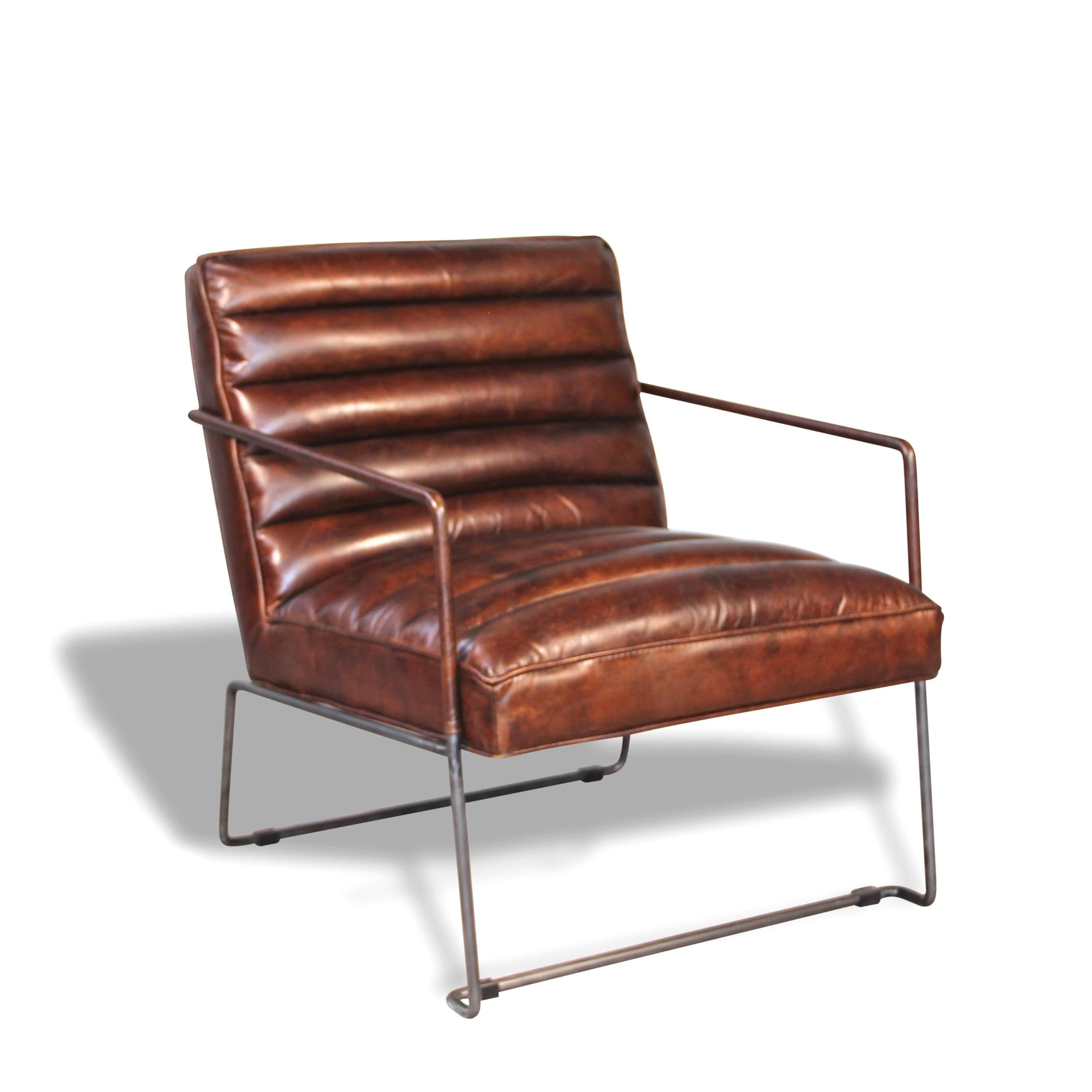 Sessel In Patina vintage Braun Leder und Metall