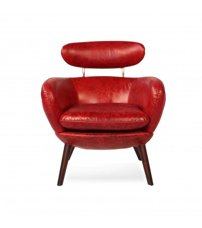 "Fauteuil Cuir Vintage Rouge ""Sixtees"""