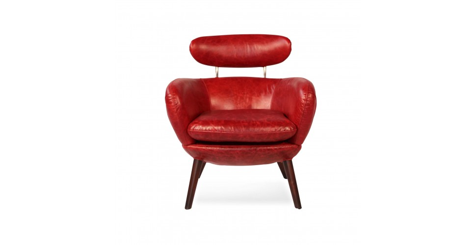 """Fauteuil Cuir Vintage Rouge """"Sixtees"""""""