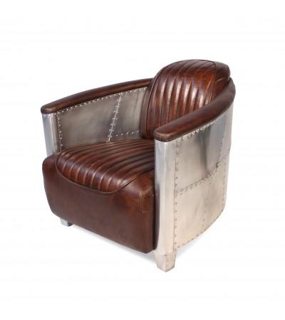 "Aviator Sessel ""Mermoz"" Braun Vintage Leder"