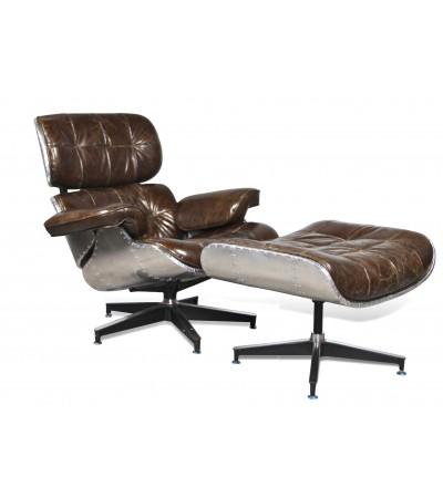 """Aviator Sessel """"Lindbergh"""" und Fusstütze Braun Vintage Leder"""