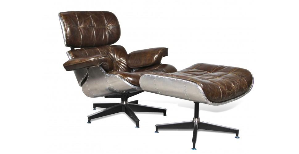 """Aviator Sessel """"Lindbergh"""" und Fußstütze Braun Vintage Leder"""