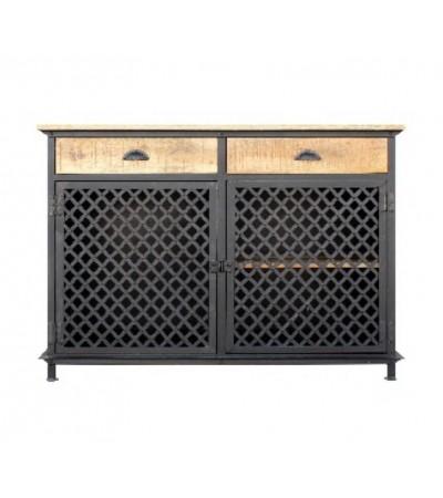 """Buffet """"Monterey"""" en métal grillagé et bois design industriel"""